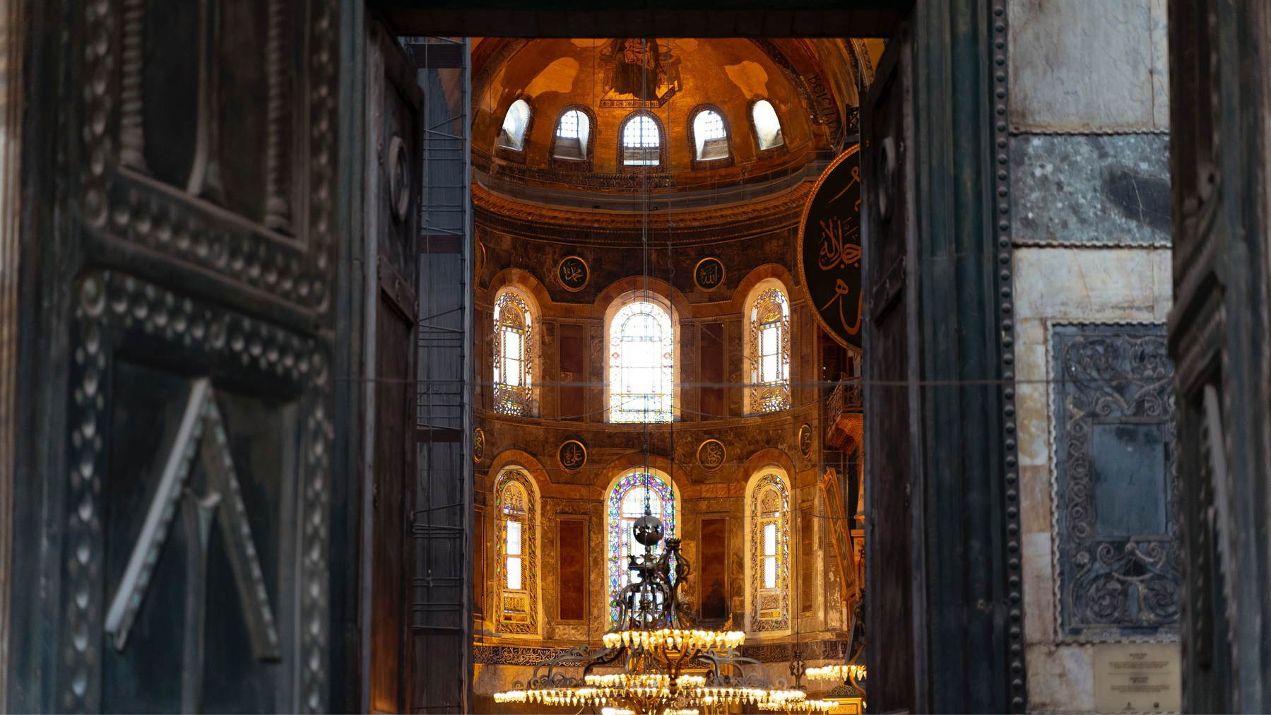 Hagia Sofia - Entrance showing the lit interiors.